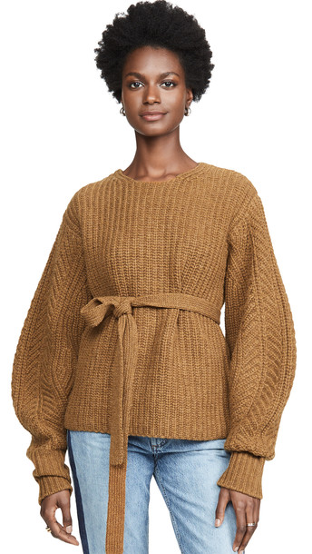 Sea Nellie Classic Sweater with Voluminous Sleeves in mustard
