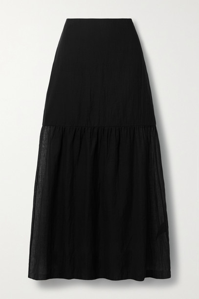 THEORY - Tiered Cotton-voile Midi Skirt - Black