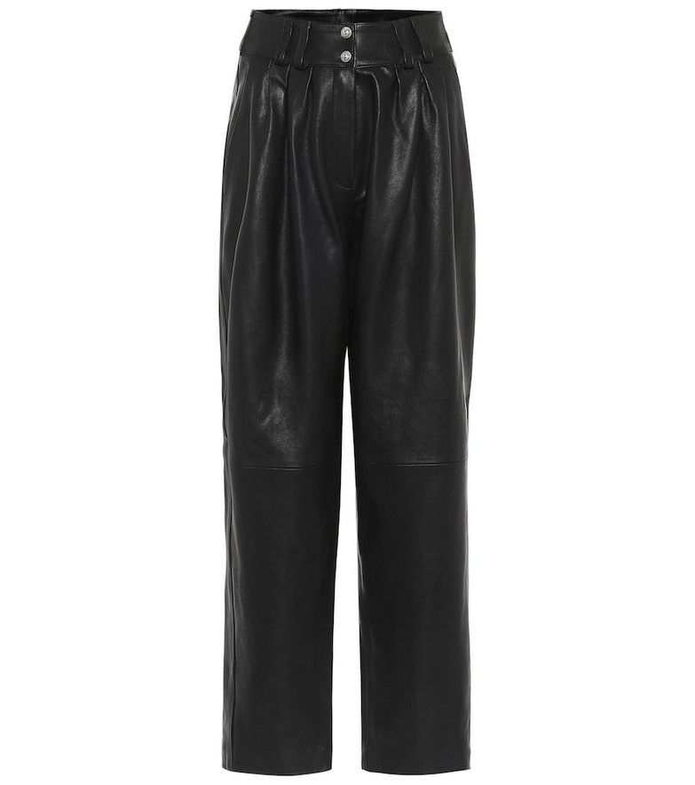 Balmain High-rise leather straight pants in black