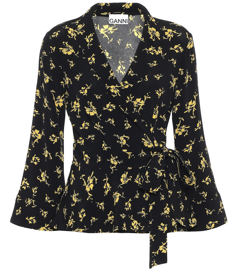 Ganni Floral crêpe blouse in black