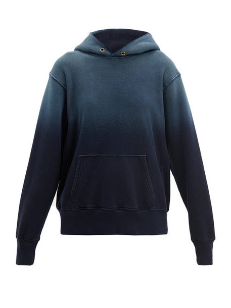 Les Tien - Ombré Cotton-jersey Hooded Sweatshirt - Womens - Navy
