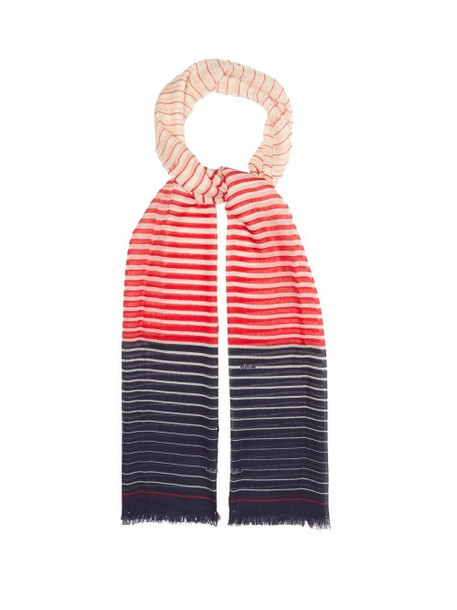 Valentino - Striped Cashmere-blend Scarf - Womens - Red Navy