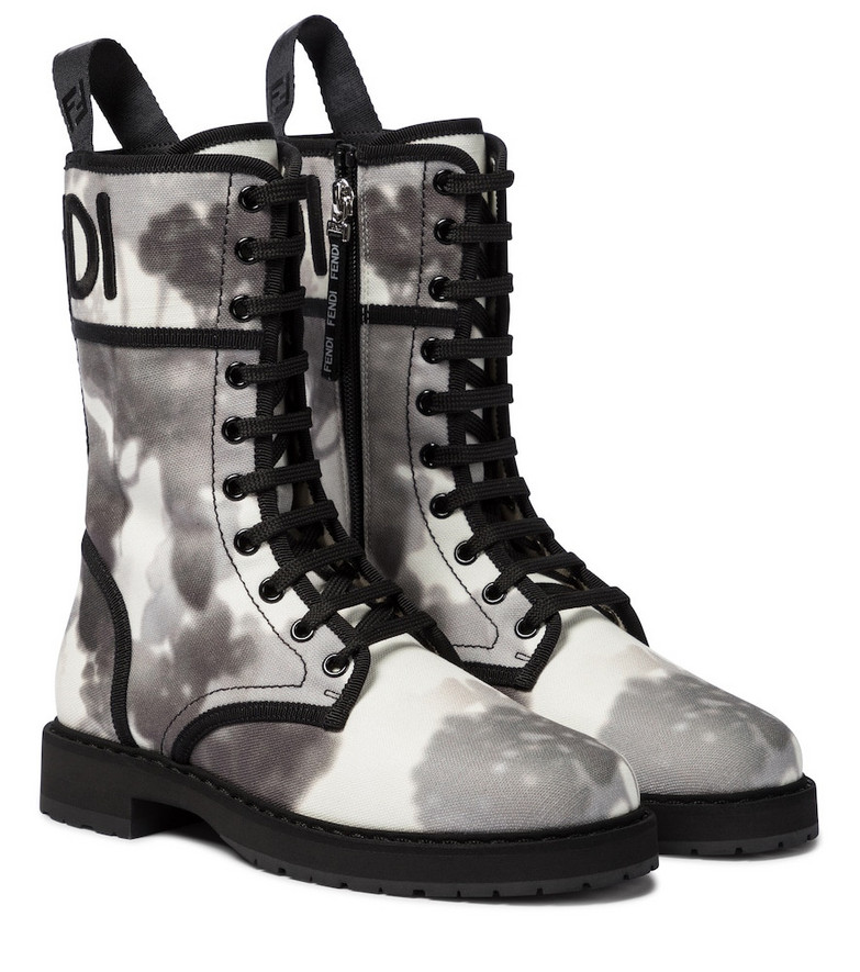 Fendi Logo canvas combat boots in grey