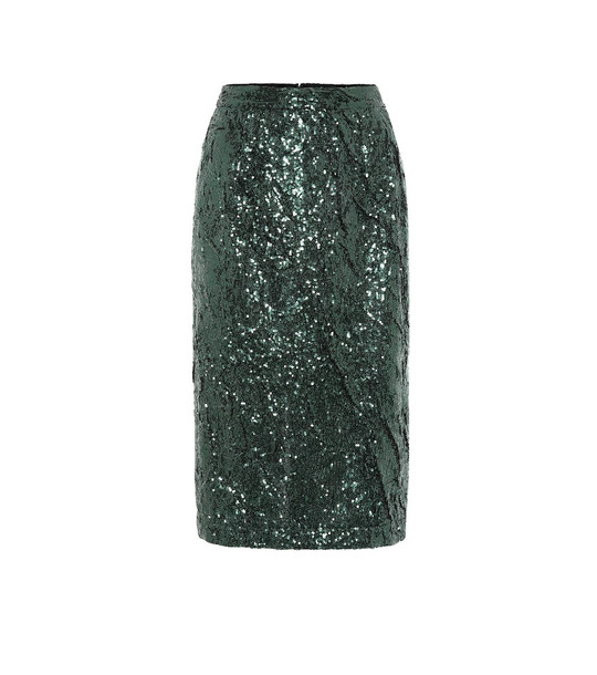 N°21 Sequined pencil skirt in green