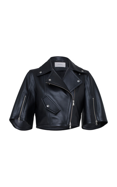 Dorothee Schumacher Modern Volumes Cropped Vegan Leather Jacket in black