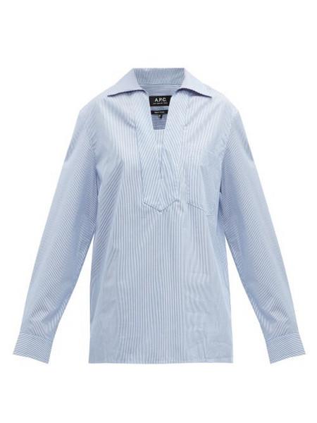A.P.C. A.p.c. - Roma Striped Oversized Cotton Shirt - Womens - Blue White