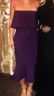 dress,purple,strapless,midi dress