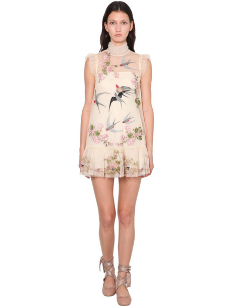 RED VALENTINO Embroidered Tulle Mini Dress in white
