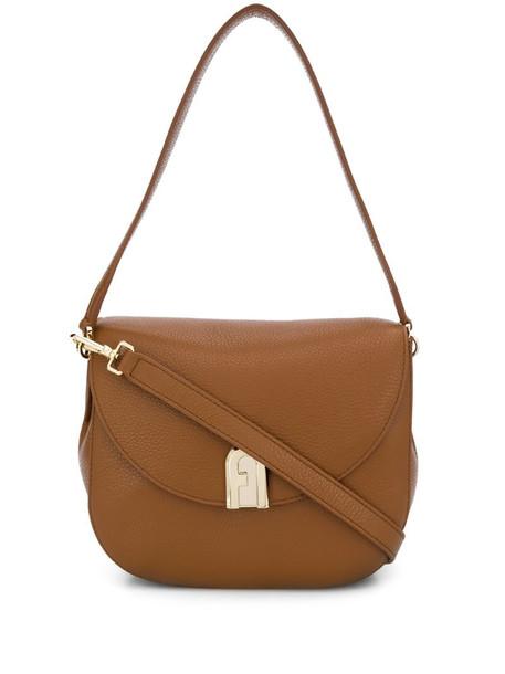 Furla foldover leather bag in brown