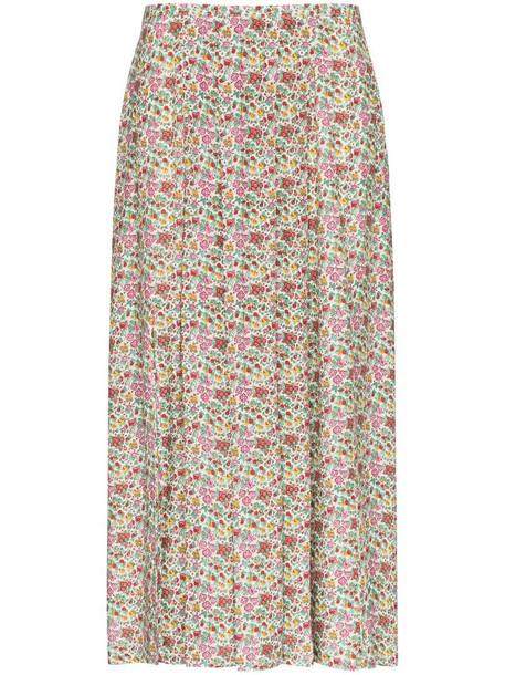 Rixo Georgia floral-print midi skirt in white