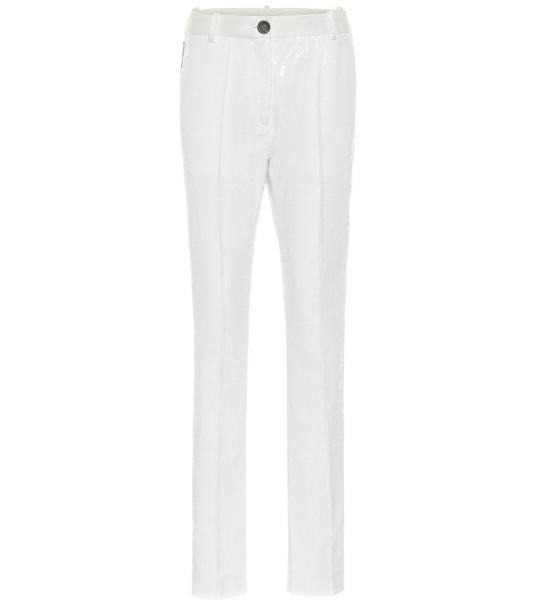 Peter Do Sequined high-rise slim pants in white