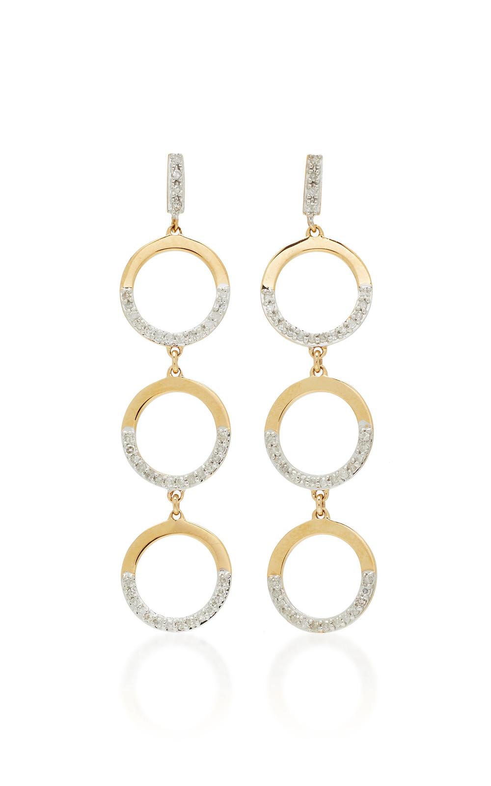 Mateo 14K Gold Tiered Hoop Drop Earrings in white