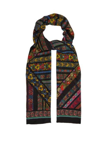 Etro - Floral Print Silk Scarf - Womens - Black