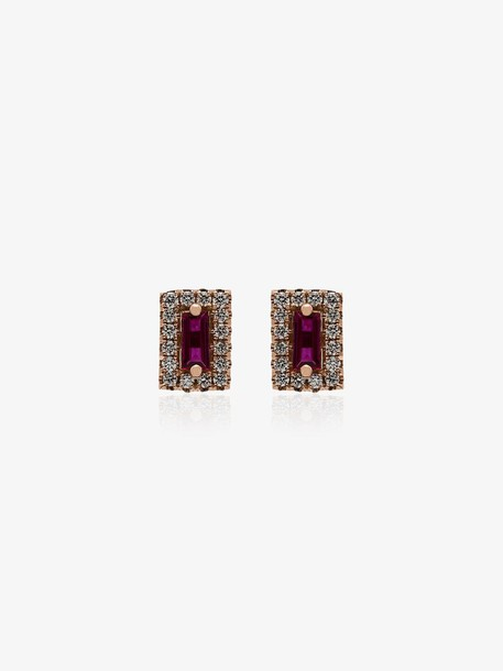 Suzanne Kalan 18kt rose gold ruby diamond earrings