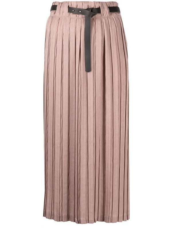 Alysi belted-waist pleated skirt in pink