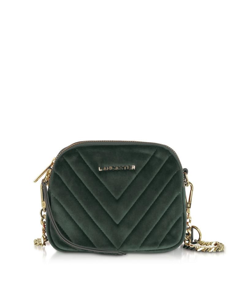 Lancaster Paris Quilted Velvet Couture Mini Camera/belt Bag in green