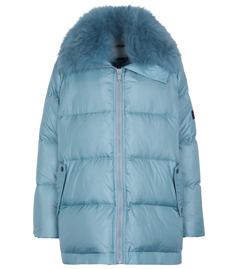 Yves Salomon YS Army shearling-trimmed down jacket in blue
