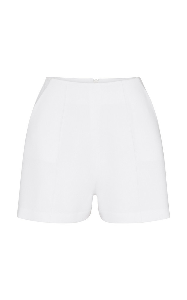 Alex Perry Malone High-Waist Crepe Shorts in white