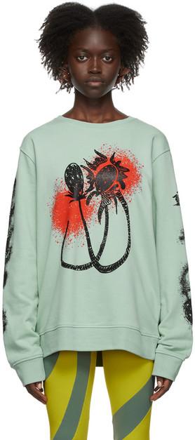 Paula Canovas Del Vas Green & Red Graphic Sweatshirt in mint