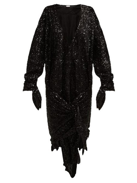 The Attico - Tie Front Sequined Dress - Womens - Black