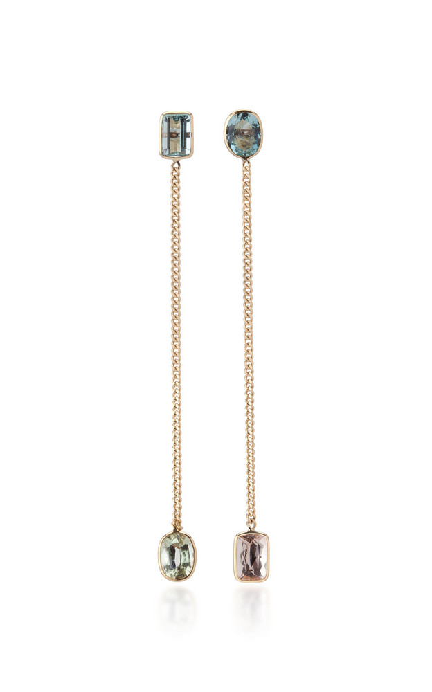 Objet-a Curb Chain 18K Gold, Aquamarine and Morganite Earrings in multi
