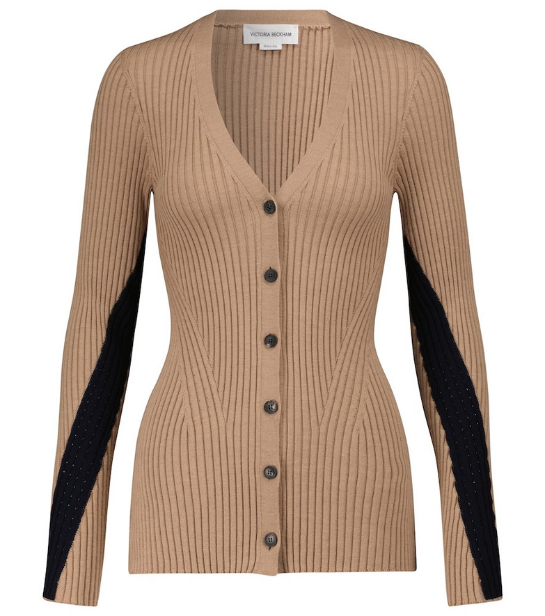 Victoria Beckham Ribbed-knit cardigan in brown