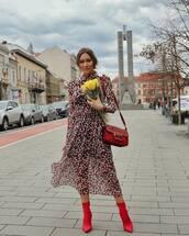 dress,midi dress,floral dress,long sleeve dress,na-kd,turtleneck dress,red boots,sock boots,heel boots,bag