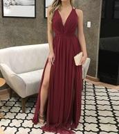 dress,burgundy,maxi dress,deep v cut dress,gown,maroon/burgundy