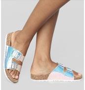 shoes,colorful sandals,double buckle sandals