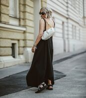 dress,black dress,asymmetrical dress,maxi dress,flat sandals