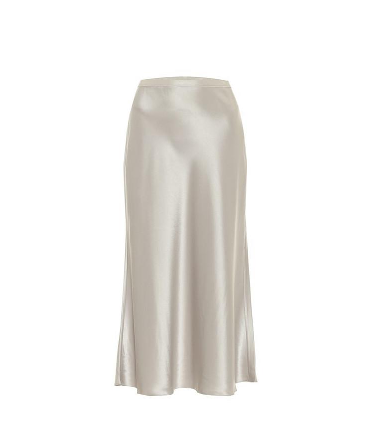 Polo Ralph Lauren Satin midi skirt in silver