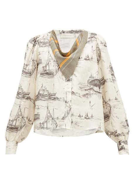 La Prestic Ouiston - Vegas Neckerchief Toile Print Silk Blouse - Womens - Ivory Multi