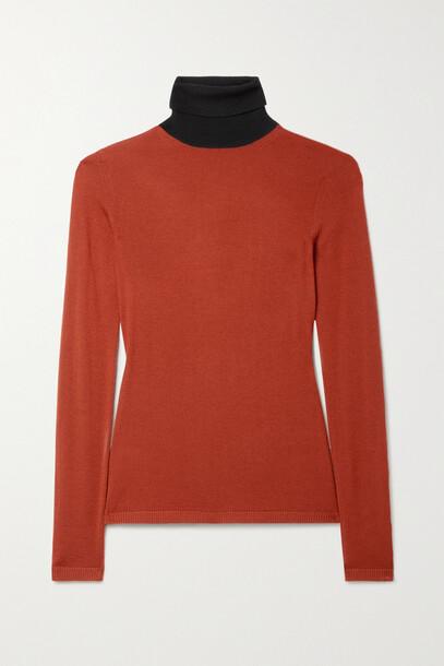 Gabriela Hearst - Bi Costa Two-tone Cashmere And Silk-blend Turtleneck Sweater - Red