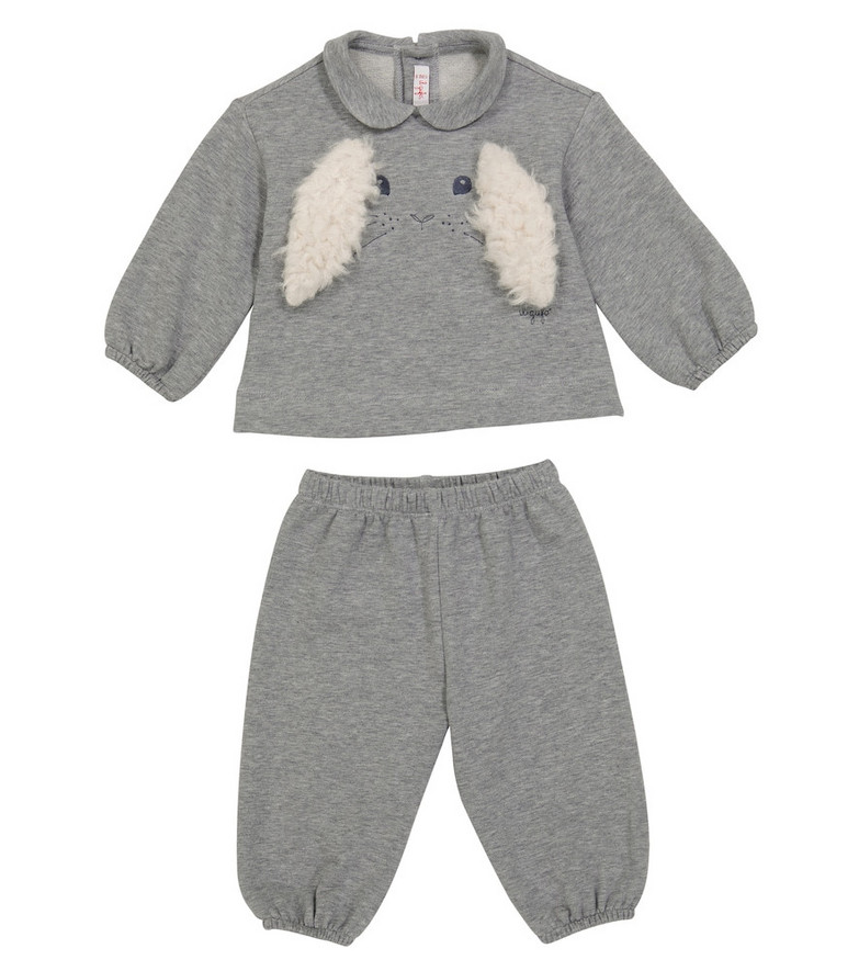 Il Gufo Baby set of stretch-cotton top and pants in grey