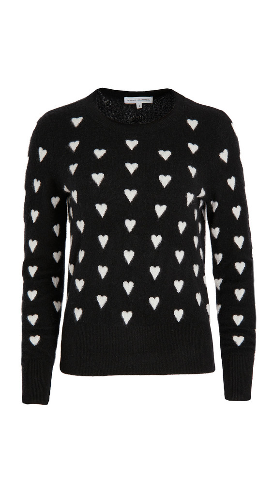 White + Warren White + Warren Polka Heart Crew Neck Cashmere Sweater