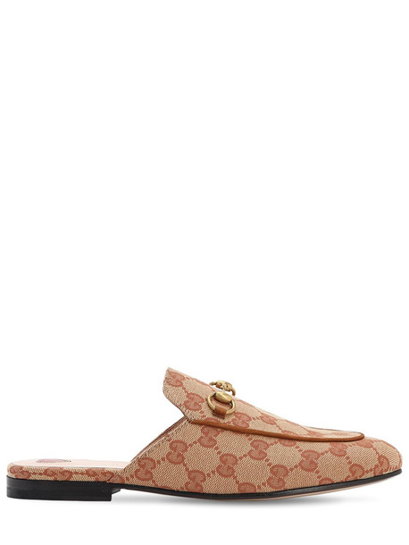 GUCCI 10mm Princetown Cotton Canvas Mules in brown