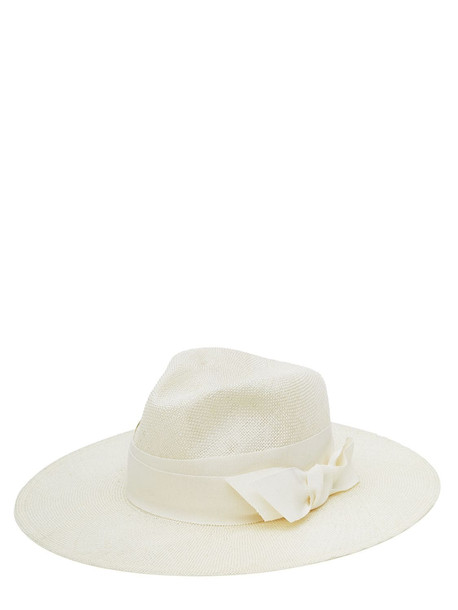 RUSLAN BAGINSKIY Bow Straw Fedora Hat in natural