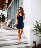 dress,mini dress,sleeveless dress,navy dress,slide shoes,brown bag