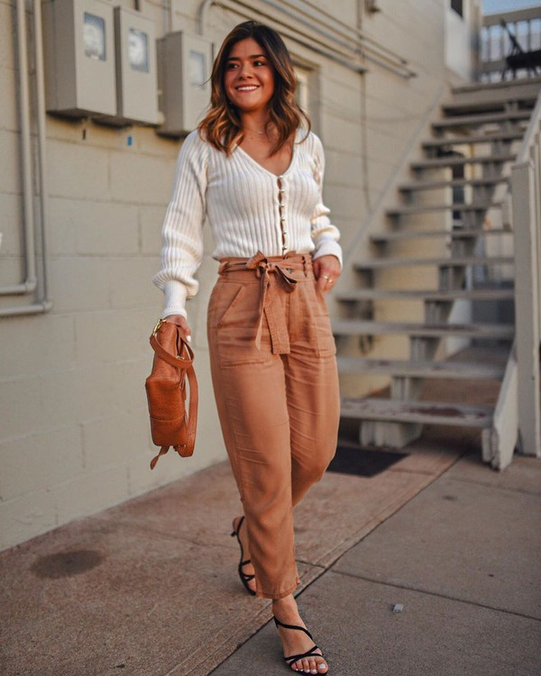 sweater white cardigan high waisted pants black sandals brown bag