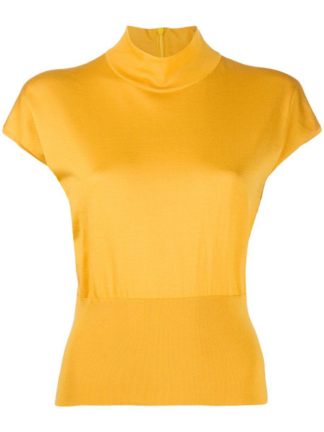 Dolce & Gabbana mock neck ribbed detail T-shirt in yellow
