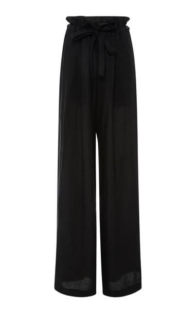 NILI LOTAN Esmae Linen Pants Size: S in black