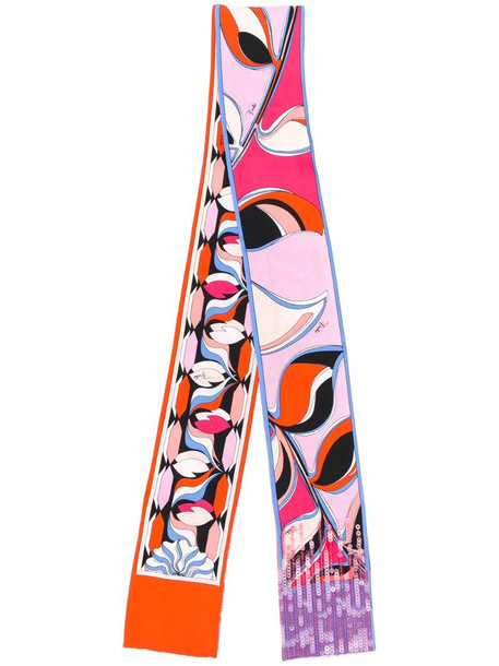 Emilio Pucci sequin detailed printed scarf in pink