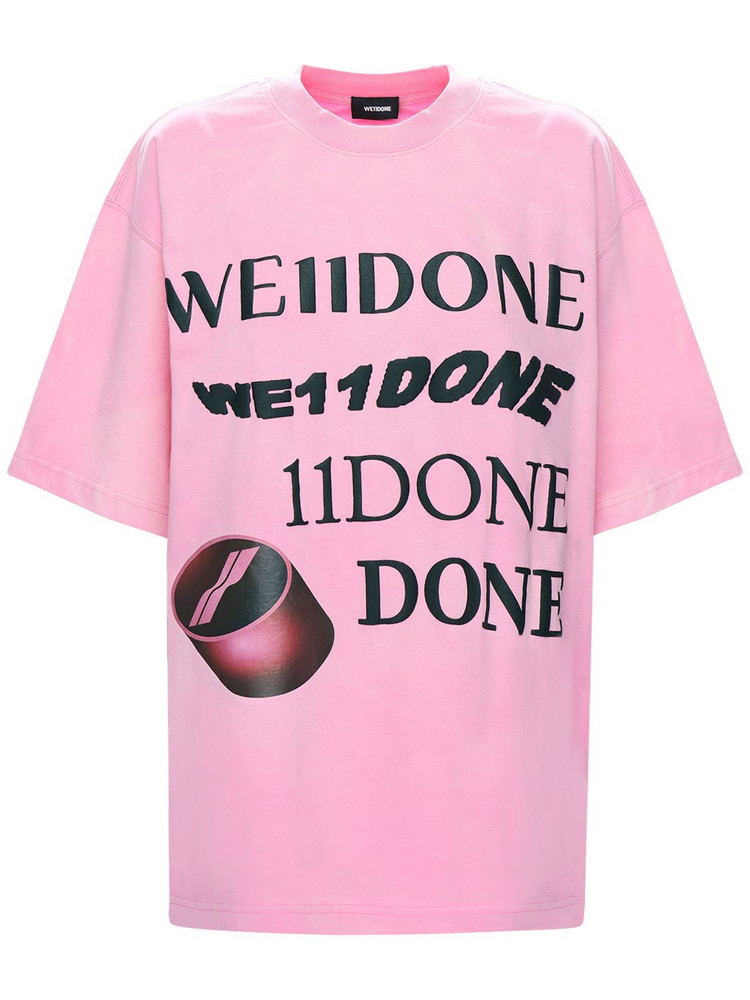 WE11 DONE Logo Print Cotton T-shirt in pink