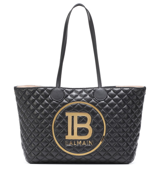 Balmain Logo quilted leather tote in black