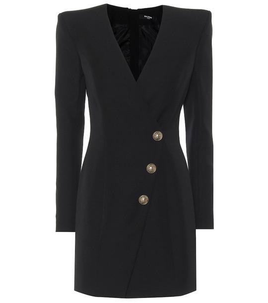 Balmain Wool-crêpe dress in black
