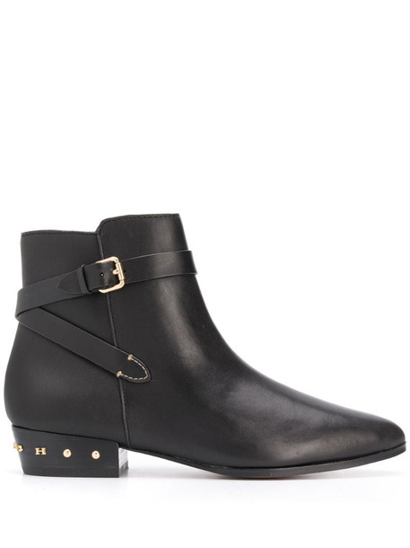 Coach pointed stud-embellished boots in black