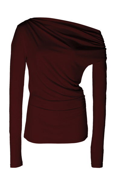Acler Harmon Draped Stretch-Modal Top Size: 2 in burgundy