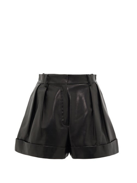 Valentino - High-rise Leather Shorts - Womens - Black