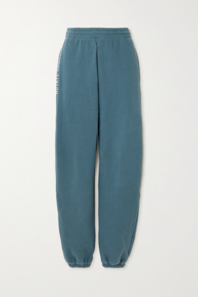 ROTATE Birger Christensen - Net Sustain Sunday Mimi Printed Organic Cotton-jersey Track Pants - Petrol