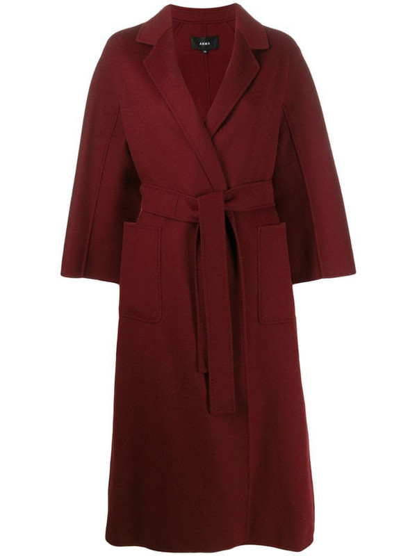 Arma wool belted wrap coat in red
